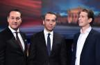 Die Spitzenkandidaten im letzten TV-Duell vor den Wahlen vom Sonntag: Heinz-Christian Strache (FPÖ), Bundeskanzler Christian Kern (SPÖ) und Aussenminister Sebastian Kurz (ÖVP).