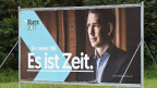 Wahlplakat mit dem Portrait des ÖVP-Spitzenkandidaten Sebastian Kurz.