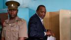 Kenias Präsident Uhuru Kenyatta an den zweiten Präsidentschaftswahlen in Gatundu, Kenia.