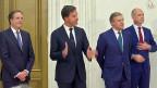 Die Leaders der vier Parteien:  Alexander Pechtold von den Demokraten 66; Premier Mark Rutte von den Rechtsliberalen; Sybrand Burma von den Christdemokraten und Gert-Jan Segers von der Christen-Union (von links nach rechts).