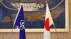 Die Nato-Flagge und die Flagge von Japan.