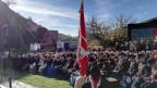 Die Südtiroler Volkspartei (SVP) feiert den 60. Jahrestag der Kundgebung von Sigmundskron auf Schloss Sigmundskron über Bozen. Bild: Andrea Christen/SRF.