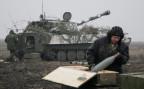 Ein Panzer der pro-russischen Rebellen bei einem Manöver in der Nähe von Donetsk.