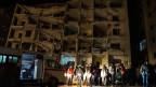 Angriff auf ein angebliches Hauptquartier einer kleineren Rebellenfraktion in Idlib, Syrien.