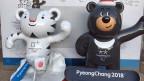 Die Maskottchen für die olympischen Winterspiele 2018 in Südkorea.