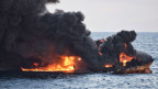 Der brennende iranische Öltanker Sanchi von der chinesischen Ostküste.