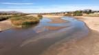 Der winterliche Rio Grande, im gestauten Zustand.
