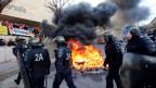 Gefängniswärter blockieren das Gefängnis Baumettes in Marseille.
