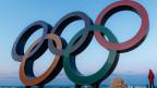 Olympische Ringe am 5. Februar 2018 in Pyeongchang, Südkorea.