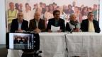 Pressekonferenz ehemalige FARC--Guerrilleros zu Wahlen in Bogota, Kolumbien