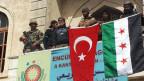 Von der Türkei unterstützte Rebellen feiern die Einnahme von Afrin.
