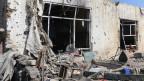 Zerstörtes Haus in Kabul, Afghanistan.