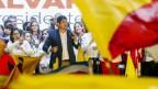 Costa Ricas neuer Präsident Carlos Alvarado bei der Siegesrede