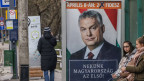 Wahlplakat mit Viktor Orban in Miskolc, Ungarn.