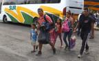 Migranten aus Zentralamerika kommen in Puebla, Mexiko, an.