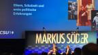 Markus Söder an einer Veranstaltung in einem Kino im bayerischen Ansbach. Bild: Peter Voegeli.
