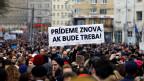 Demonstrationen wegen der Ermordung des slowakischen Enthüllungsreporters Jan Kuciak und seiner Verlobten Martina Kusnirova in Bratislava am 23. März 2018.