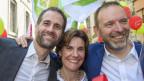 Strahlende Gewinner in Genf: Antonio Hodgers (Grüne), Anne Emery-Torracinta (SP) und Thierry Apotheloz (SP).
