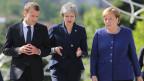 Frankreichs Präsident Emmanuel Macron, die britische Premierministerin Theresa May und Bundeskanzlerin Angela Merkel in Sofia, Bulgarien (von links).