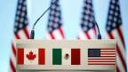 Die Flaggen von Kanada, Mexiko und den USA zu NAFTA-Gesprächen am 5. März 2018 in Mexiko Stadt.