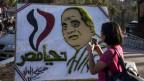 Plakat mit Porträt von al-Sisi, Präsident von Ägypten, in Giza.
