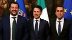 Innenminister Matteo Salvini, Premier Giuseppe Conte und Arbeitsminister Luigi Di Maio (von links nach rechts).