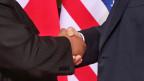 Kim Jong-un, Nordkoreanischer Diktatot (links) und Donald Trump, US-Präsident beim Händeschütteln.