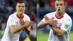 Granit Xhaka und Xherdan Shaqiri erhalten eine Busse für die Doppeladler-Geste während des Spiels gegen Serbien.