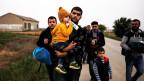 Syrische Flüchtlinge von Afrin an der Grenze zwischen Griechenland und der Türkei in Nea Vyssa, Griechenland.