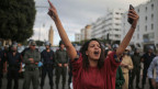 Demonstrantin in Rabat, Marokko.
