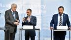Die Innenminister (v.l.) Horst Seehofer (D), Herbert Kickl (A) und Matteo Salvini (I) bei einem Statement vor dem informellen Treffen der Justiz- und Innenminister der EU in Innsbruck.