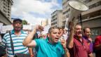 Prostete gegen die Krise von Spital-Mitarbeitern in Caracas, Venezuela.