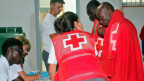 Hilfsorganisation bei der Erstversorgung von Flüchtlingen.