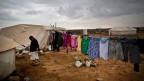 Syrische Frau in einem Flüchtlingslager in Jordanien.