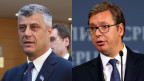 Hashim Thaci (links), der kosovarische und Aleksandar Vucic der serbische Präsident.