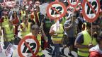 Demonstration gegen 12- Stunden-Arbeitstag und 60- Stunden-Arbeitswoche in Wien.
