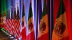 Die Flaggen von Kanada, USA und Mexiko.