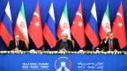 Russlands Präsident Vladimir Putin, Hassan Rouhani von Iran and Tayyip Erdogan , Präsident der Türkei am Syrien-Gipel in Teheran (von links).