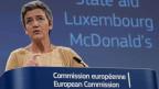 Margrethe Vestager, EU-Wettbewerbskommissarin, gibt am 19. September 2018 in Brüssel, Belgien, eine Pressekonferenz zu Luxemburgs staatlichen Beihilfen für McDonald's.