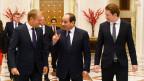 Der ägyptische Präsident Abdel Fattah al-Sisi (Mitte),  EU-Ratspräsident Donald Tusk (links) und der österreichische Bundeskanzler Sebastian Kurz trafen sich am 16. September in Kairo.
