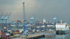 Sicht auf den Hafen von Zeebrügge, Belgien.