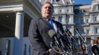 US-Aussenminister Mike Pompeo spricht betr. des vermissten saudiarabischen Journalisten Jamal Khashoggi vor dem Weissen Haus in Washington, USA.