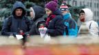 Gedenkveranstaltung in Moskau für die Opfer, die unter Diktator Stalin von der sowjetischen Geheimpolizei hingerichtet wurden.