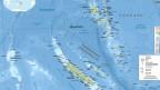 Kartenausschnitt von Neukaledonien, der langgezogenen Inselgruppe neben Australien.