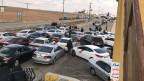 Stundenlange Staus auf der jordanischen Seite der Grenze.