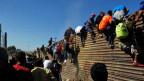 Migranten besteigen in Tijuana den Grenzzaun zwischen Mexiko und den USA.