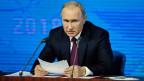 Der russische Präsident Wladimir Putin an der jährlichen Pressekonferenz in Moskau.