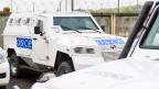 OSZE-Auto am OSZE-Hub in Kramatorsk, Ukraine. Archivbild von 2016.