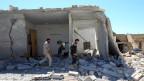 Zerbombte Häuser in Idlib, Syrien.