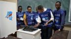 Test einer Wahlmaschine in Kinshasa, Kongo.